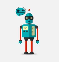 Retro vintage funny robot icon in flat vector