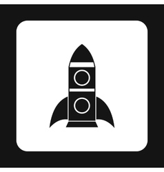 Rocket with two portholes icon simple style vector