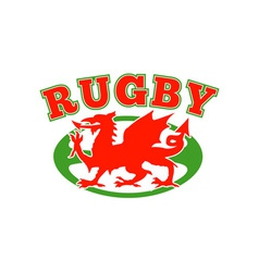 Rugby ball wales red welsh dragon vector