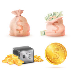 sack full money metal safe strongbox and bag vector image