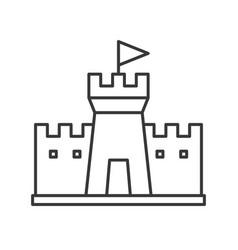 Sand castle on beach simple outline icon vector