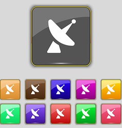 Satellite dish icon sign Set with eleven colored vector image