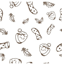 Seamless pattern of Christmas and New year objects vector image