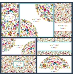 Set business cards with Floral Mexican pattern vector