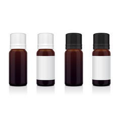 Set of realistic essential oil brown bottle mock vector