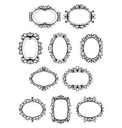 Set retro frames with embellishments vector
