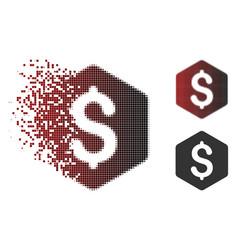Shredded pixel halftone dollar hexagon icon vector