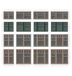 Single hung plaza style composite window set in vector