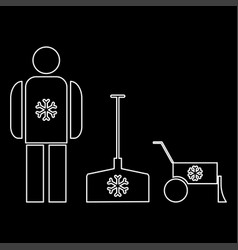 Snow removal the white path icon vector