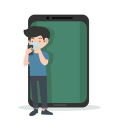 Social distancing people with mobile phone vector