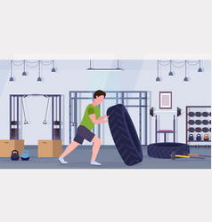 sports man flipping a tire doing hard exercises vector image