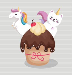sweet and delicious cupcake with unicorn and cat vector image