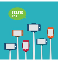 taking a selfie photo with monopod flat design vector image