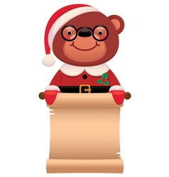 Teddy bear Santa Claus with a scroll Christmas vector image