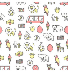 Thin line art zoo seamless pattern vector