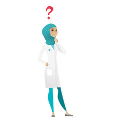 Thinking doctor with question mark vector