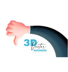 thumbs down hand 3d render cartoon sign on white vector image