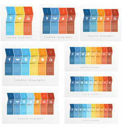 timeline infographics set templates colorful vector image