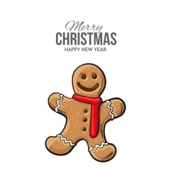 Traditional gingerbread Christmas greeting card vector