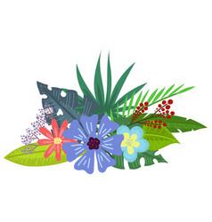 Tropical flowers bouquet vector