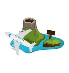 tropical island and airplane icon vector image