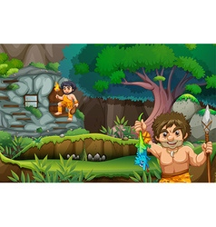 Two cavemen living in the stonehouse vector image