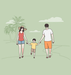 vacation on sea beach with family concept vector image