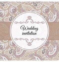 Wedding invitation in beige style vector