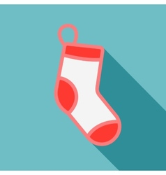 White christmas stocking on blue background vector