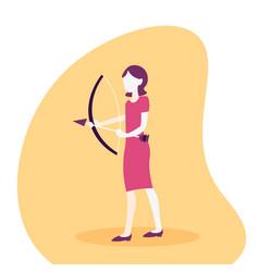 woman archer holding bow arrow business aim vector image