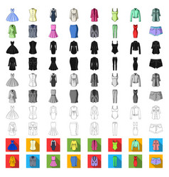 Women clothing cartoon icons in set collection for vector