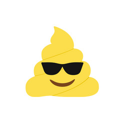 yellow dung smiley face with black sunglasses vector image
