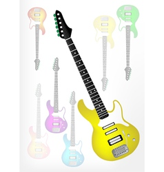 Yellow Electric Guitar with Guitar Shadow vector image