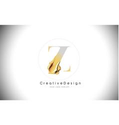 z golden letter design brush paint stroke gold vector image