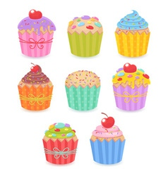 A set of tasty colorful muffins and cupcakes vector image vector image