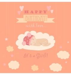 Baby theme it s a girl card vector