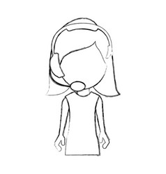 monochrome sketch of half body woman of call vector image vector image