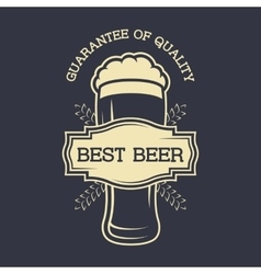 A glass of beer and emblem for text vector image