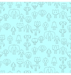Angels linear icon set seamless texture vector image vector image