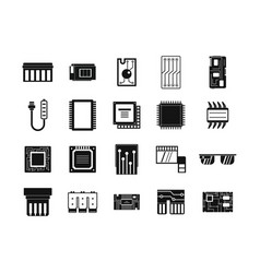 chip icon set simple style vector image vector image