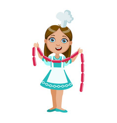 girl holding string of sausages cute kid in chief vector image vector image