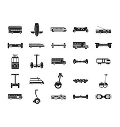 city transport icon set simple style vector image