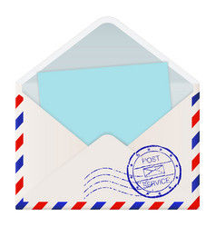 open international mail envelope with blue paper vector image