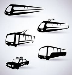 public city transport icons set vector image