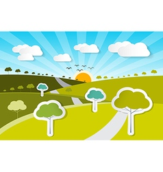 Rural Paper Nature Background with Trees Clouds vector image vector image