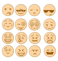smiling cartoon face set negative and positive vector image