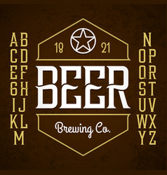 beer label style font with sample design ideal vector image vector image