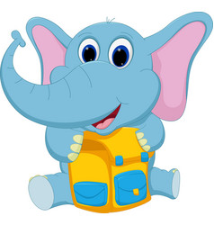 happy elephant with school bag vector image vector image