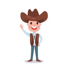 little boy wearing cowboy costume american vector image vector image