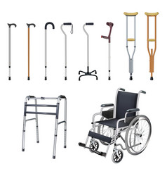 Wheelchair cane crutch walkers set of special vector